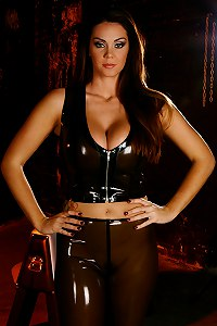 Amazon Alison Tyler shows off her hot body in curve hugging latex.s