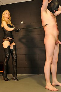 This blonde femme decides to push her slave to his limits by punishing him with things that she has in her dungeon