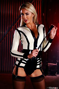 Mistress Gigi Allens commands your submission in her white hot latex outfit.