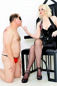 The slave meat is only worth to lick the dirt from his mistresses shoes